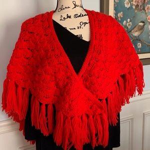 Hand Crocheted Cape/Stole Red Acrylic VTG Euc